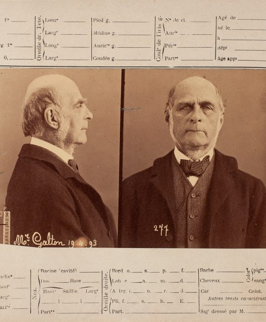 Photographs of Galton (front and profile) as a criminal. Affixed to French criminal Anthropometric card which allows more details of the criminal to be taken down.