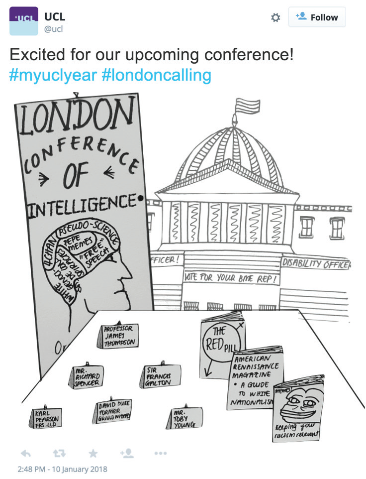 Excited for our upcoming conference! #myuclyear #londoncalling A cartoon showing signage for the London Conference of Intelligence