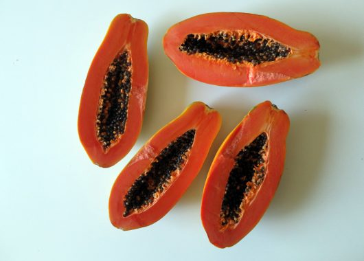A bird's eye view of two papayas cut in half against a white background.
