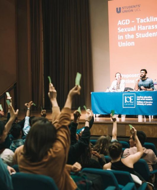 Students vote during a Students' Union general assembly in January 2018